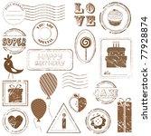 birthday vector stamp set  ...