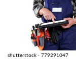 young electrician technician... | Shutterstock . vector #779291047
