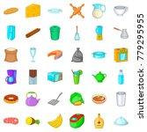 dish icons set. cartoon style... | Shutterstock .eps vector #779295955