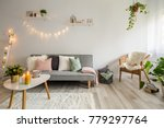 sofa  coffee table and wicker... | Shutterstock . vector #779297764