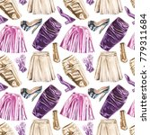 seamless watercolor fashion... | Shutterstock . vector #779311684