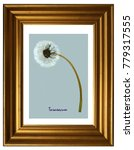 Small photo of Herbarium from pressed and dried seed head of dandelion (Taraxacum) in the frame