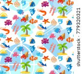pattern cute squid  anchor ... | Shutterstock .eps vector #779320321