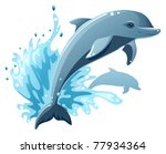 two dolphins in water splash | Shutterstock .eps vector #77934364