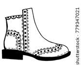 unisex chelsea boots sketch....   Shutterstock .eps vector #779347021