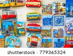 Colorful Ceramic Tiles Magnets Souvenirs Handicrafts Lisbon Portugal.  Portugal has many cermic tiles on sidewalks and other areas/