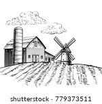 farm barn and windmill on... | Shutterstock .eps vector #779373511