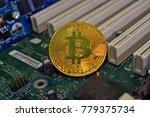 the litecoin adn bitcoin coins... | Shutterstock . vector #779375734