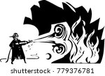 woodcut fireman with hose... | Shutterstock .eps vector #779376781