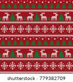 knitted christmas and new year... | Shutterstock .eps vector #779382709