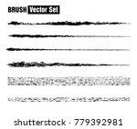 set of black paint  ink brush...   Shutterstock . vector #779392981