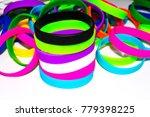 rubber bracelets. silicone... | Shutterstock . vector #779398225