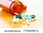 many colors pill or drugs are... | Shutterstock . vector #779409871