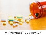 many colors pill or drugs are... | Shutterstock . vector #779409877