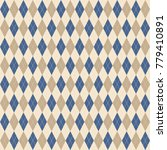 argyle knit pattern  blue and... | Shutterstock .eps vector #779410891