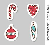 set of candy  heart  fir tree... | Shutterstock .eps vector #779416531