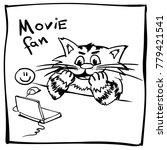 Funny Doodle Movie Fan Cat....