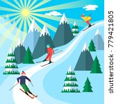 ski season in the winter alps.... | Shutterstock .eps vector #779421805