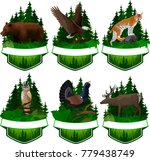 set of vector woodland emblems... | Shutterstock .eps vector #779438749