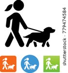 Stock vector woman walking golden retriever icon 779474584