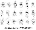 cartoon facial expressions set | Shutterstock .eps vector #77947519