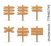 wooden arrow signs board set.... | Shutterstock . vector #779481745