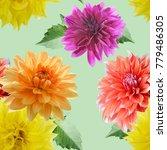 seamless  pattern of dahlia... | Shutterstock . vector #779486305
