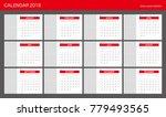 2018 calendar planner design. | Shutterstock .eps vector #779493565