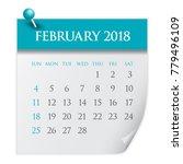 february 2018 calendar vector...   Shutterstock .eps vector #779496109