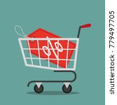 shopping cart with red label or ... | Shutterstock .eps vector #779497705