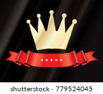 golden crown icon with red... | Shutterstock .eps vector #779524045