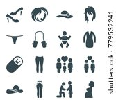 girl icons. set of 16 editable...   Shutterstock .eps vector #779532241