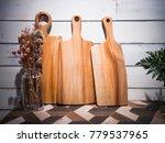 teak cutting board on white... | Shutterstock . vector #779537965
