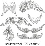 wings label collection | Shutterstock .eps vector #77955892