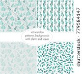 set of seamless floral... | Shutterstock .eps vector #779584147
