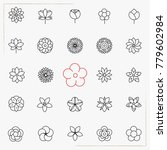 flower line icons set | Shutterstock .eps vector #779602984