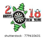 happy new year 2018 and darts...   Shutterstock .eps vector #779610631