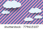 cloud in paper art style on... | Shutterstock .eps vector #779615107