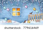 winter snowy scene. old window... | Shutterstock .eps vector #779616469