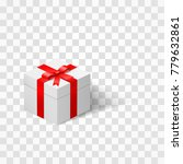 white box with a bow tied with... | Shutterstock . vector #779632861