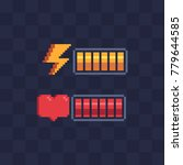 pixel art style. battery charge.... | Shutterstock .eps vector #779644585