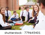 teenage students in uniform... | Shutterstock . vector #779645401