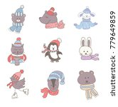 set of cute animals in the... | Shutterstock .eps vector #779649859