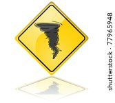 Glossy vector illustration of a warning sign showing a tornado - stock vector