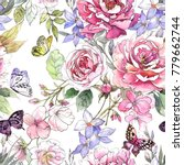 Stock photo watercolor floral pattern seamless pattern with purple and pink bouquet butterflies on white 779662744