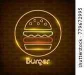hamburger neon lights icon | Shutterstock .eps vector #779672995