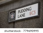 London, United Kingdom - October 30th, 2017:-Pudding Lane, where the great fire of London started in 1666 - stock photo