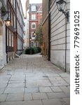London, United Kingdom - October 30th, 2017:- A Cobbled street near Temple Church - stock photo