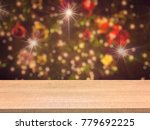 wooden table with montage on... | Shutterstock . vector #779692225