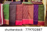 Small photo of Hand woven fabric thai silk cloth, Antique and vintage traditional pattern of Mahasarakham Province as Lai Soi Dork Mark